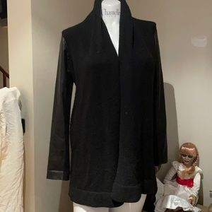 VINCE BLACK  XS OPEN CARDIGAN WITH LEATHER ARMS